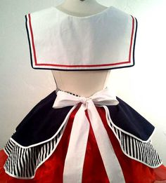 Sailor Sue Pin Up Costume Apron Cosplay door SassyFrasCollection Sailor Outfits, Girl Outfits, Fashion Outfits, Cute Baby Dresses, Little Dresses, Nautical Outfits, Nautical Fashion, Retro Apron, Aprons Vintage