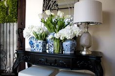 Blue and White spring entry table by Randi Garrett Design