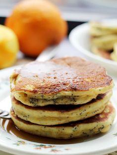 Blood Orange Greek Yogurt Poppy Seed Pancakes