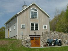 banking exterior Newly constructed custom barn~New England Bank Barn with stone retaining wall Pole Barn Plans, Barn House Plans, Shed Plans, Barn Garage, Garage House, Barn Apartment, Apartment Plans, Bank Barn, Large Sheds
