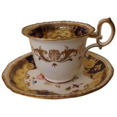Early 19th Century English Coffee Cup and Saucer, H. & R. Daniel, Pattern 4058