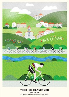 Cycling Print • Tour de France 2011 Prints by Neil Stevens • Purchase at http://crayonfireshop.bigcartel.com/