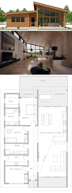 Small House Plan, Floor plan with three bedrooms, modern arc.- Small House Plan, Floor plan with three bedrooms, modern architecture - Layouts Casa, House Layouts, House Layout Plans, Small Floor Plans, Small House Plans, Modern House Floor Plans, Cheap House Plans, Wooden House Plans, Small Wooden House