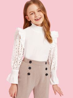 To find out about the Girls Ruffle Trim Eyelet Embroidered Smocked Top at SHEIN, part of our latest Girls Blouses ready to shop online today! Kids Outfits Girls, Cute Girl Outfits, Girls Fashion Clothes, Tween Fashion, Cute Outfits For Kids, Teen Fashion Outfits, Little Girl Dresses, Cute Casual Outfits, Mode Kpop