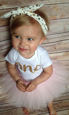 Baby girls first birthday outfit with knotted by BespokedCo