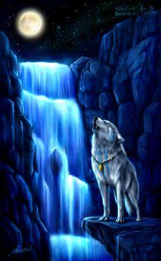 Anime Wolf Wallpaper The Moon Mystical Animals, Mythical Creatures Art, Wolf Photos, Wolf Pictures, Fantasy Wolf, Fantasy City, Fantasy Places, Fantasy Hair, Fantasy Dress