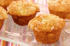 Coconut Pineapple Mini Muffins- Enjoy a taste of the tropics in every bite of these great tasting muffins made with crushed pineapple and mouth-watering coconut.