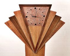 Art Deco Fan Inspired Long Case Grandfather Clock Walnut Oak Copper Very Unique