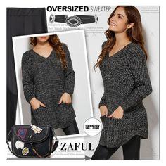 """Pockets V Neck Sweater 14"" by ramiza-rotic ❤ liked on Polyvore"