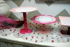 DIY Serving trays / cake stands - use a plate, candlestick and a wooden plaque from Michaels! SO cute and so easy!!!