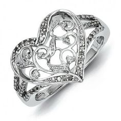 Sterling Silver Rhodium Plated Diamond Heart Ring - Promise Ring