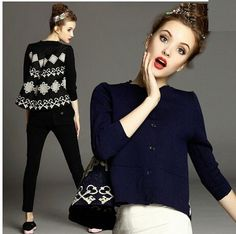 Hot Sale New 2015 Women Embroidered Cape-Style Stitching Jacquard Cardigan Sweater Coat Handmade Single Breasted Top Blouses