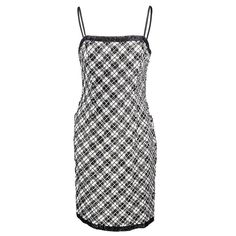 90s Bill Blass Black and White Embellished Plaid Cocktail Dress | From a collection of rare vintage evening dresses and gowns at https://www.1stdibs.com/fashion/clothing/evening-dresses/