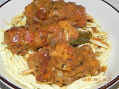 City Chicken with wonderful gravy! Chicken Kabob Recipes, Turkey Recipes, Pork Recipes, Real Food Recipes, Cooking Recipes, City Chicken Recipe With Gravy, Philly Food, Buttered Noodles, Polish Food