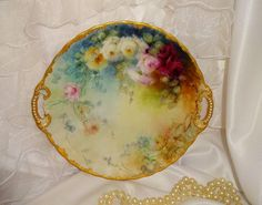 Beautiful - Bawo & Dotter - Limoges - France - Two Handle Plate - Hand Painted - Romantic Bouquet - Multicolored Sweetheart Roses - Raised Gilded Design - Jeweled Handles - Museum Quality - Only Fine Lines