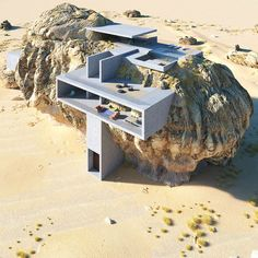 Architectural designer Amey Kandalgaonkar has created renderings of House Inside a Rock, a concept for a modernist concrete house built within a giant rock. Architecture Unique, Concrete Architecture, Residential Architecture, China Architecture, House Architecture, Rock Design, House Design, Modern Design, Casa Do Rock