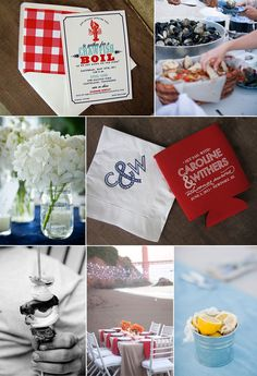 Shrimp Boil i like the coozies! Wedding Rehearsal, Rehearsal Dinners, Hay Wedding, Wedding Ideas, Shrimp Boil Party, Crawfish Party, Sweet 16 Parties, Summer Parties, Holiday Parties
