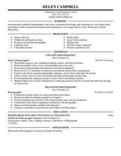 senior photographer resume sample - Freelance Photographer Resume