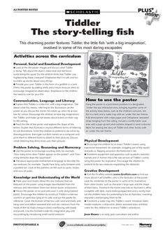 Great activity ideas relating to the EYFS six Areas of Learning and Development to use alongside the wonderful 'Tiddler: The story-telling fish – poster' resource Fish Activities, Eyfs Activities, Sequencing Activities, Animal Activities, Classroom Activities, Book Activities, Activity Ideas, Julia Donaldson Books, Education And Literacy