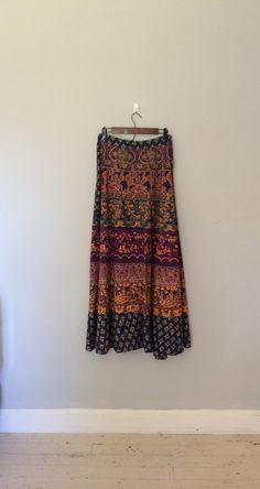 1970s wrap skirt / indian print skirt / batik by cashmerevintage