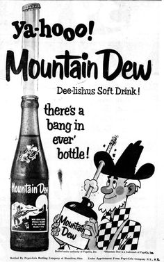 Mountain Dew newspaper ad, 1967 Old Advertisements, Retro Advertising, Retro Ads, Funny Vintage Ads, Vintage Humor, Vintage Toys, Coca Cola, Pop Ads, Soda Fountain