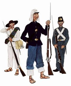 The Mexican Adventure: Uniforms: Republican Army 4. Infantryman, State Militia (1863 - 1867) 5. Republican soldier. (1866 - 1867) 6. Infantry, Battalion of Supremos Podores.