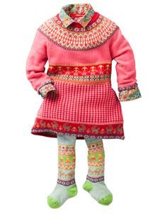 aw14: What's better than one Fair Isle pattern? If one judges from Oilily's sweater dress, shirt and tights, the answer is at least three - and don't forget to mix up the colors! www.oililywholesale.com