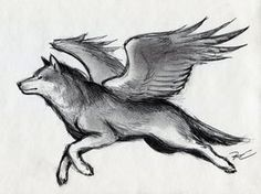 Winged Wolf by RobtheDoodler