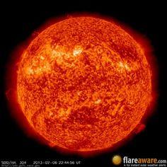 The hourly sun (at 10:44 pm  UTC on  6 February 2013)