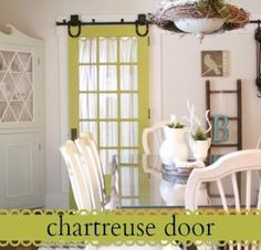Love this barn style sliding french door!!!!