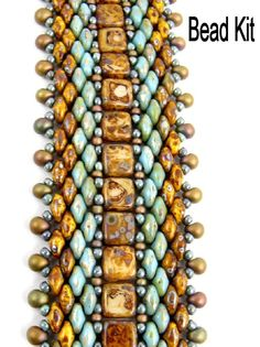Bead Kit - Green and Brown Picasso Well-Traveled Superduo and 2-hole Tile Beadweaving Bracelet