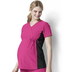 Easy Fit by Wonderwink Women's Mock Crossover Maternity Scrub Top | allheart.com #nurse #doctor #hospitalstyle #medicalstyle #scrubs #maternity