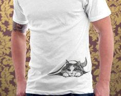 Cat tshirt Hiding Kitten Cat Kitty Cat Lover Cute Gift Pet Animal Art Print Mens Cat Shirt - T-shirt - Sizes S, M, L, XL, XXL - Tap the link now to see all of our cool cat collections! Cat Shirts, Cool T Shirts, Happy Kitten, T Shirt Painting, High Quality T Shirts, Cute Gifts, Printed Shirts, Cat Lovers, Shirt Designs
