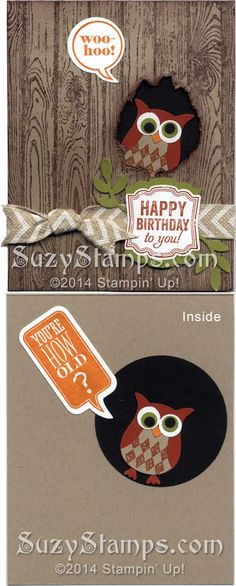 Stampin' Up! Cards - 2014-05 Class - Hardwood, Just Sayin', Label Love and Best of Shelli stamp sets, the Owl Builder, Bird Builder and Artisan Label Punches, Word Bubbles Framelits