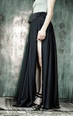 Hey, I found this really awesome Etsy listing at https://www.etsy.com/listing/470524807/black-satin-skirt-with-a-slit-long-ball