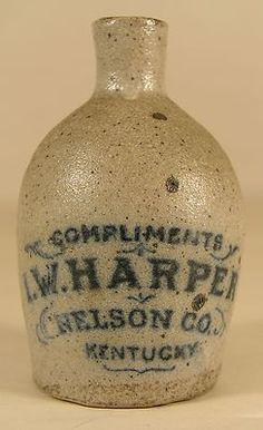 Antique Miniature L w Harper Nelson Co KY Stoneware Blue Dec Whiskey Jug | eBay