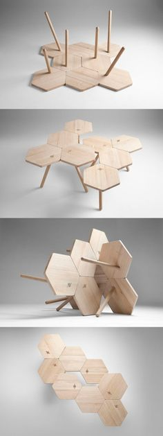 Inspiration – Canteen direction: With these hexagon tables, you can make any shape you want
