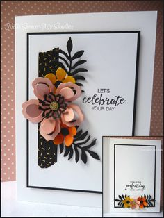 CAS Botanical Builder Thinlits, Bunch of Blossoms greeting; Daffodil Delight, Blushing Bride, Pumpkin Pie, Basic Black, Gold Glimmer paper, Pop of Pink washi taoe