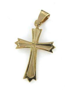 14KT KARAT YELLOW GOLD PENDANT 1.5 DWT CROSS CHRISTIAN RELIGIOUS ITALY RELIGIOUS