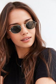 Chic Oval Flat Lens Sunglasses