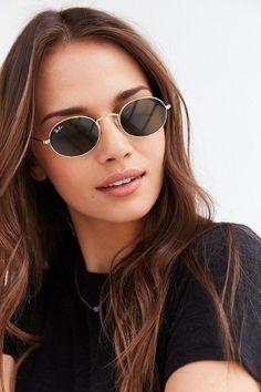 Chic Oval Flat Lens Sunglasses
