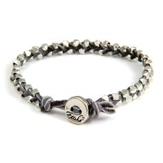 Double Silver Faceted Bead Mens Bracelet on Grey Leather