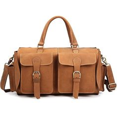 Mens Genuine Leather Travel Duffel Bag Brown 17 Inch Cowhide Tote Gym Bag Zipper *** Read more reviews of the product by visiting the link on the image. (Note:Amazon affiliate link)