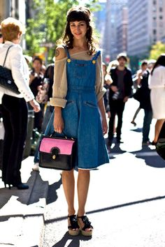 the overall takes on a ton of different in dress form. plus, i adore the bag! where can i get it!
