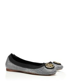 """Tory Burch """"Caroline 2"""" Flat in Tidal Grid Black. Great alternative to a solid colored neutral. A way to add a pop of fun in a work shoe."""