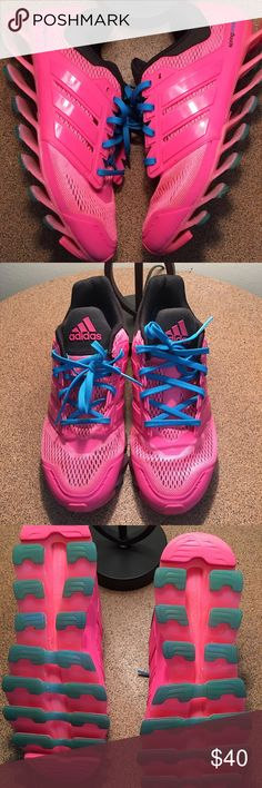 Adidas spring blade running sneakers Adidas spring blade running sneakers size 7 (kids). They fit more like a women's size 8. They are in like new condition. Only worn a a couple of times. They are pink with blue laces. Very comfortable. Adidas Shoes Athletic Shoes