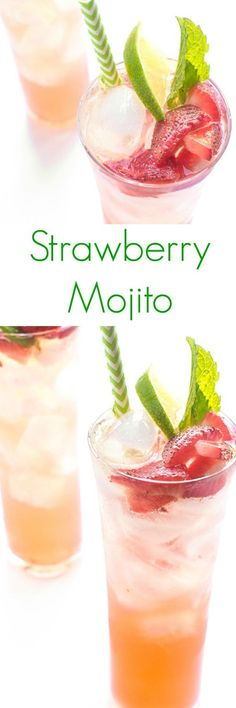 Strawberry Mojito - Perfect for entertaining, these strawberry mojitos are fresh and fruity.
