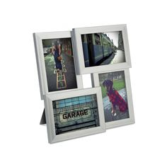 Showcase captured memories with a balance of four portrait and landscape frames placed together for one symmetrical and sleek photo display. The matte silver frame provides a bold and non-distracting b...  Find the Four-Framing Picture Frame, as seen in the Decor Clearance Collection at http://dotandbo.com/collections/end-of-summer-sale-decor-clearance?utm_source=pinterest&utm_medium=organic&db_sku=94590