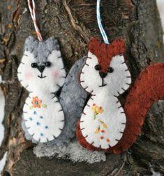 Vidám mókusok filcből - filc karácsonyfadíszek / Mindy -  kreatív ötletek és dekorációk minden napra