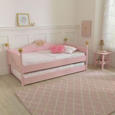 "The Princess Twin Daybed has plenty of ""big girl"" charm! A perfect transition bed for your growing toddler, the imaginative design transforms your room décor into a royal sanctuary.Twin Trundle Bed sold separately Age Range: 5+"